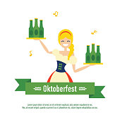 Vector illustration of cute cartoon smiling oktoberfest character, waitress girl in traditional costume holding trays with beer bottles.