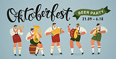 Oktoberfest world biggest beer festival opening parade musicians with historical costumes playing trumpet, accordion and drum, music bands.