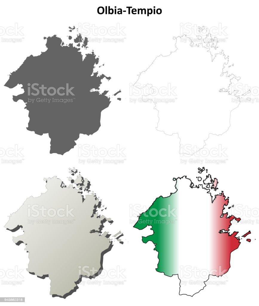 Olbia-Tempio blank detailed outline map set vector art illustration
