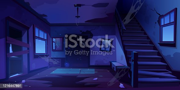 istock Old abandoned house hallway at night 1216447891