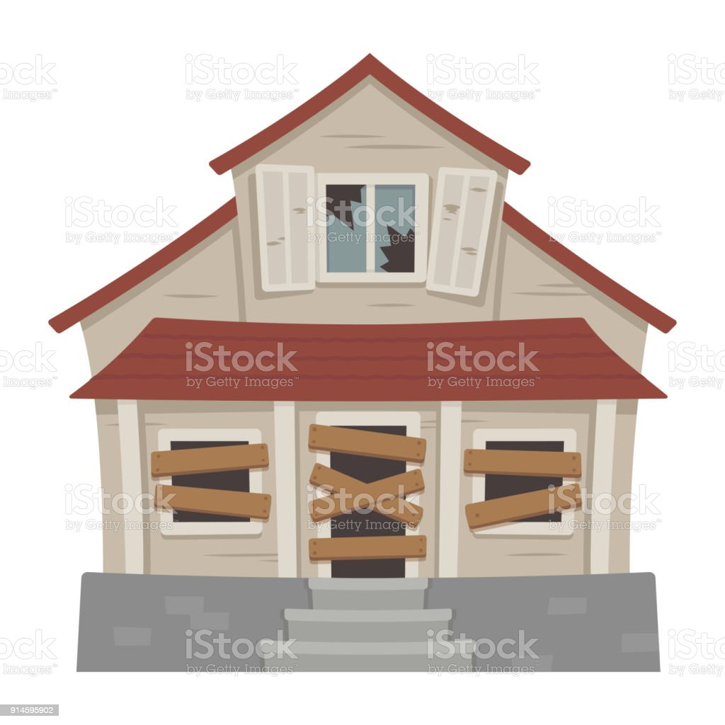 Old abandoned house vector art illustration