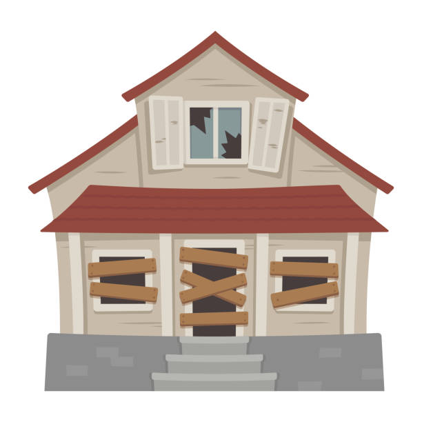 Old abandoned house Old abandoned house cartoon vector illustration. Decaying suburban cottage with broken windows. bad condition stock illustrations
