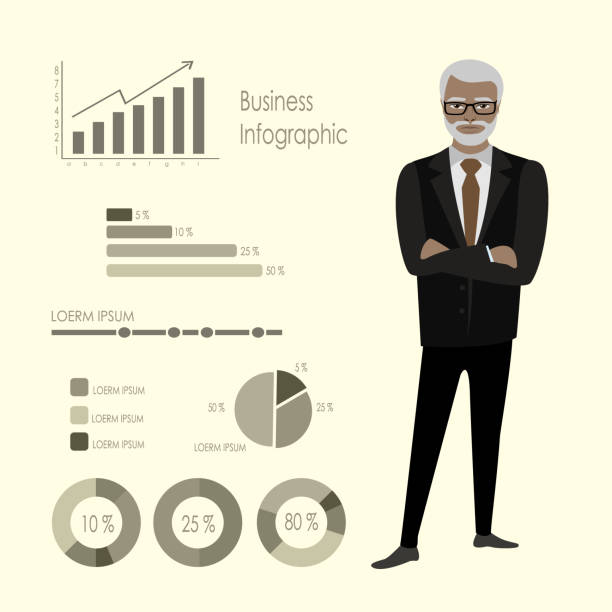 old  african american businessman and infographics template - old man in black stock illustrations, clip art, cartoons, & icons