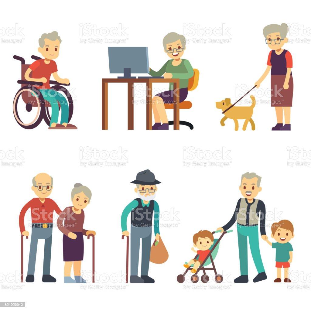 Personas de edad avanzada en diferentes situaciones. Actividades superiores del hombre y mujer vector set - ilustración de arte vectorial