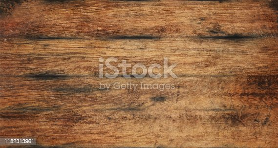 Vecror illustration of vintage brown barrel wooden planks background texture with scratches and black stains over wood grain of old aged oak barrel