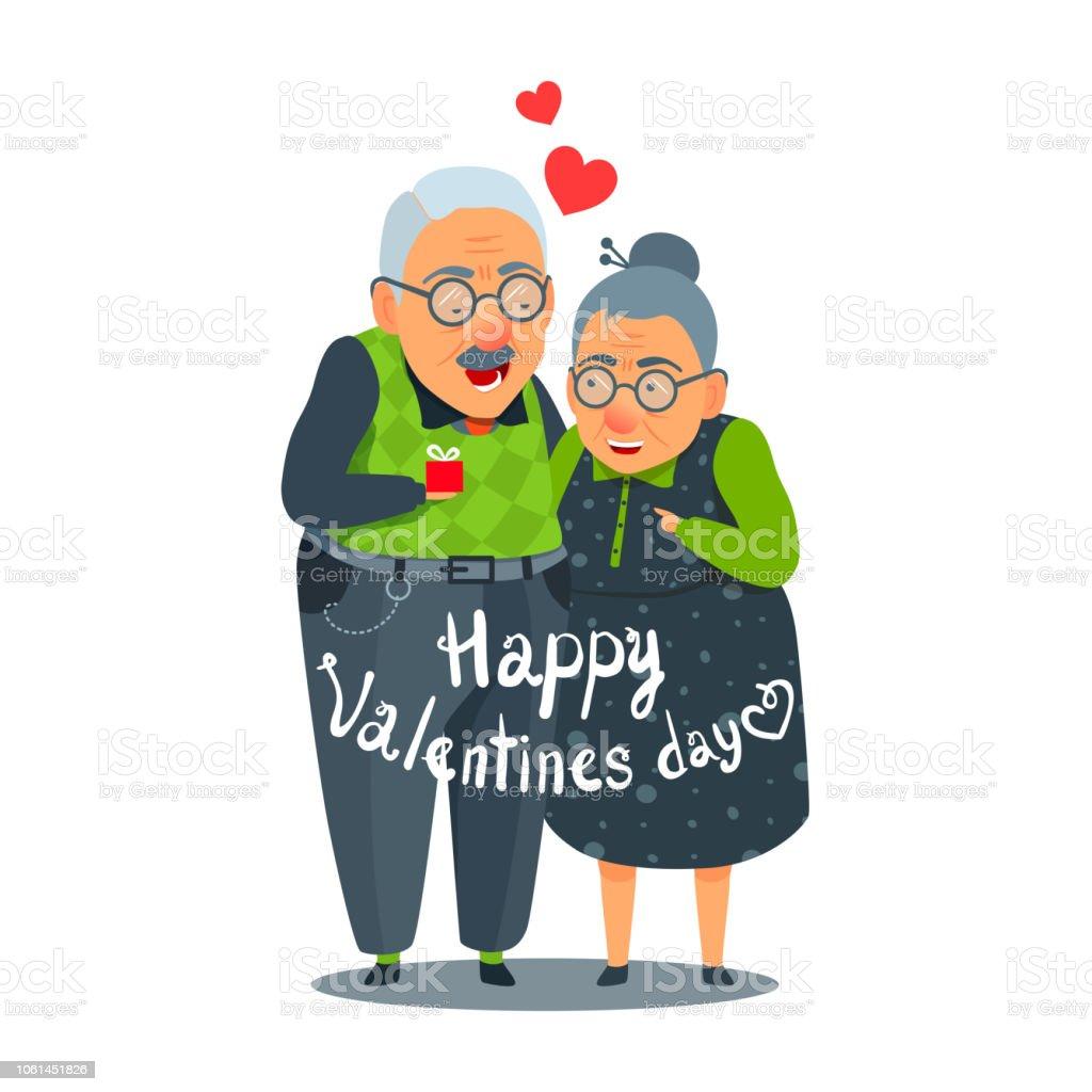 Alt Alter Mann Und Frau Lustige Paar In Der Liebe Designkarte Zum