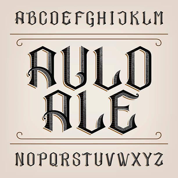 старый вектор алфавит шрифт. - средневековье stock illustrations