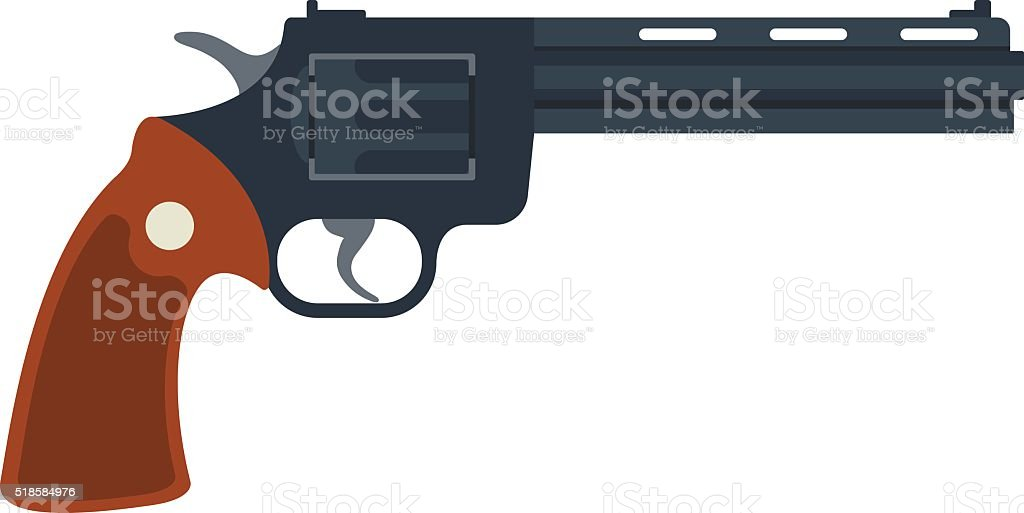 Old American colt revolver wild west handgun danger crime ammunition vector art illustration
