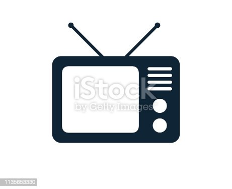 istock Old Analog Television TV Set With Antennae 1135653330