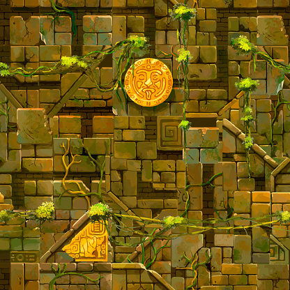 Old ancient ruins with lushy vines, cartoon seamless pattern