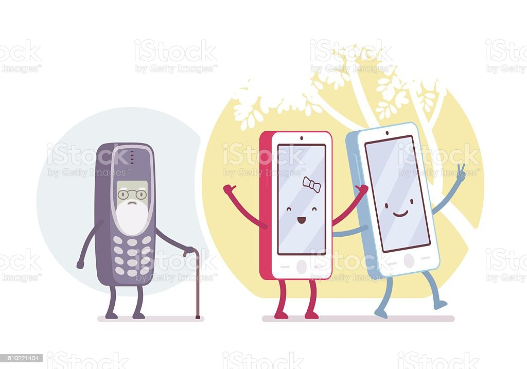 Old and new smartphone models vector art illustration