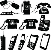 Old and New Telephones Vector Illustrations