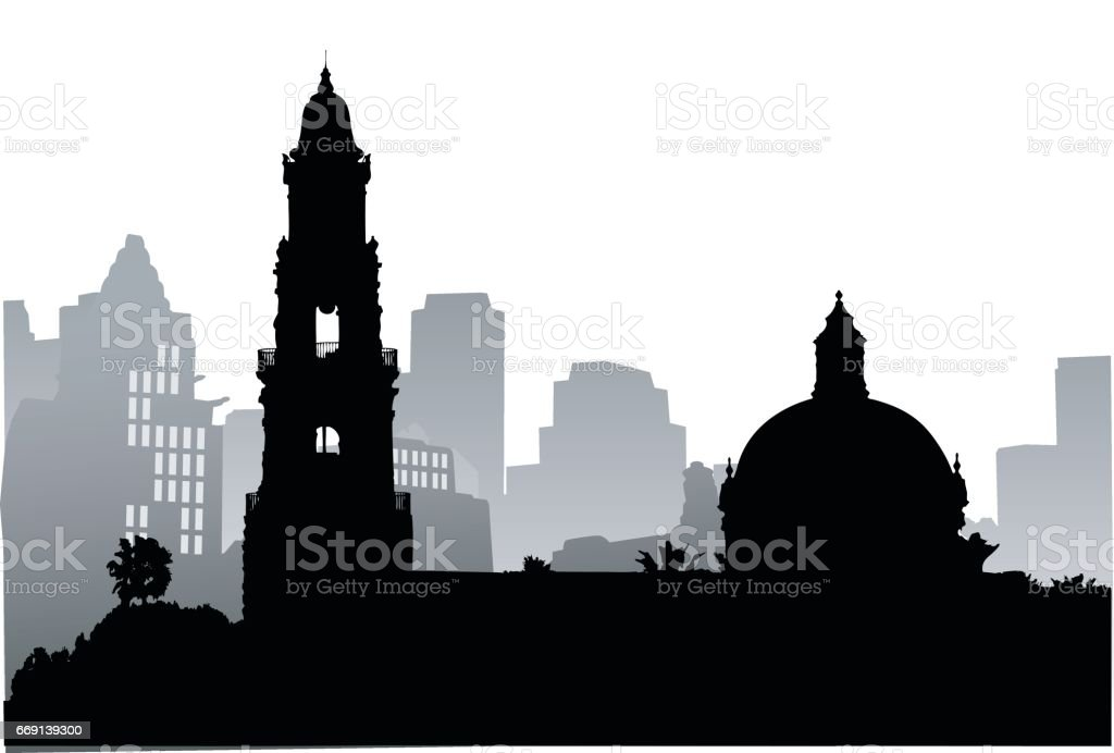Old And New Town vector art illustration