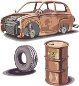 Old broken rusty car, rusty oil barrel and used obsolete tire with a dirty stains...