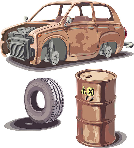 Old and rusty stuff Old broken rusty car, rusty oil barrel and used obsolete tire with a dirty stains... obsolete stock illustrations