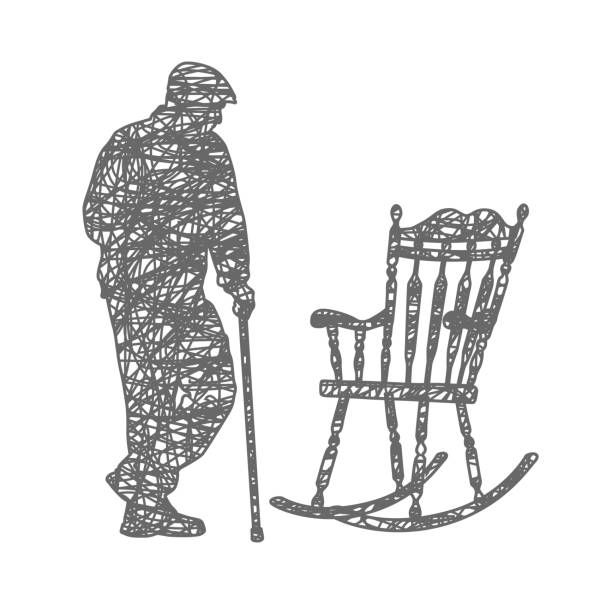 old and tired - old man in rocking chair drawings stock illustrations, clip art, cartoons, & icons