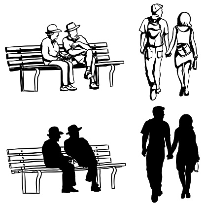 Old And Young Couples Silhouette