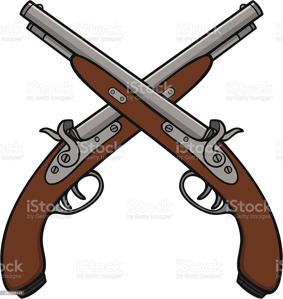 Old Antique Guns royalty-free stock vector art