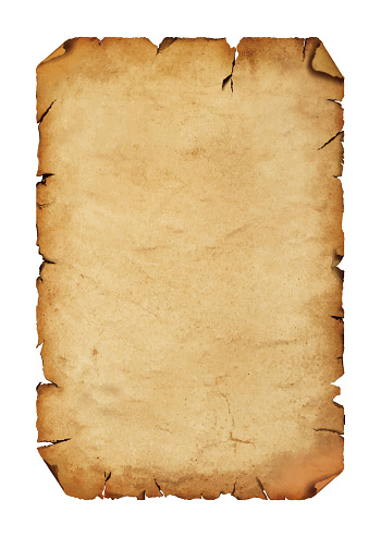 Old antique paper parchment scroll over white