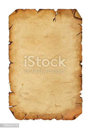 istock Old antique paper parchment scroll over white 1263403120
