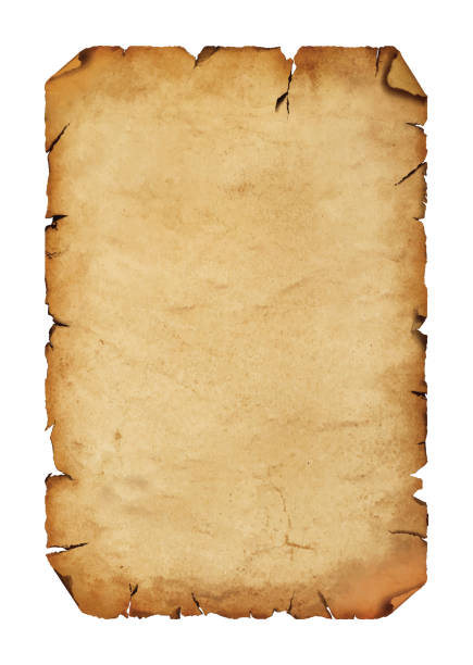 Old antique paper parchment scroll over white Vector illustration of blank old antique vintage brown paper parchment scroll with copy space obsolete stock illustrations