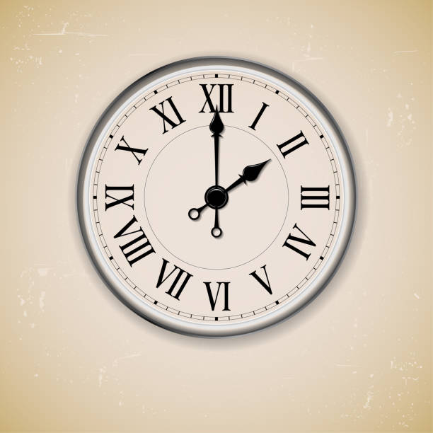 Old antique wall clock on grungy background vector art illustration