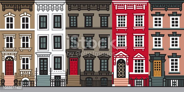 Vector flat facades. Files included: Vector EPS 10, HD JPEG 6000 x 3000 px