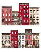 Vector flat facades. Files included: Vector EPS 10, HD JPEG 4000 x 5000 px