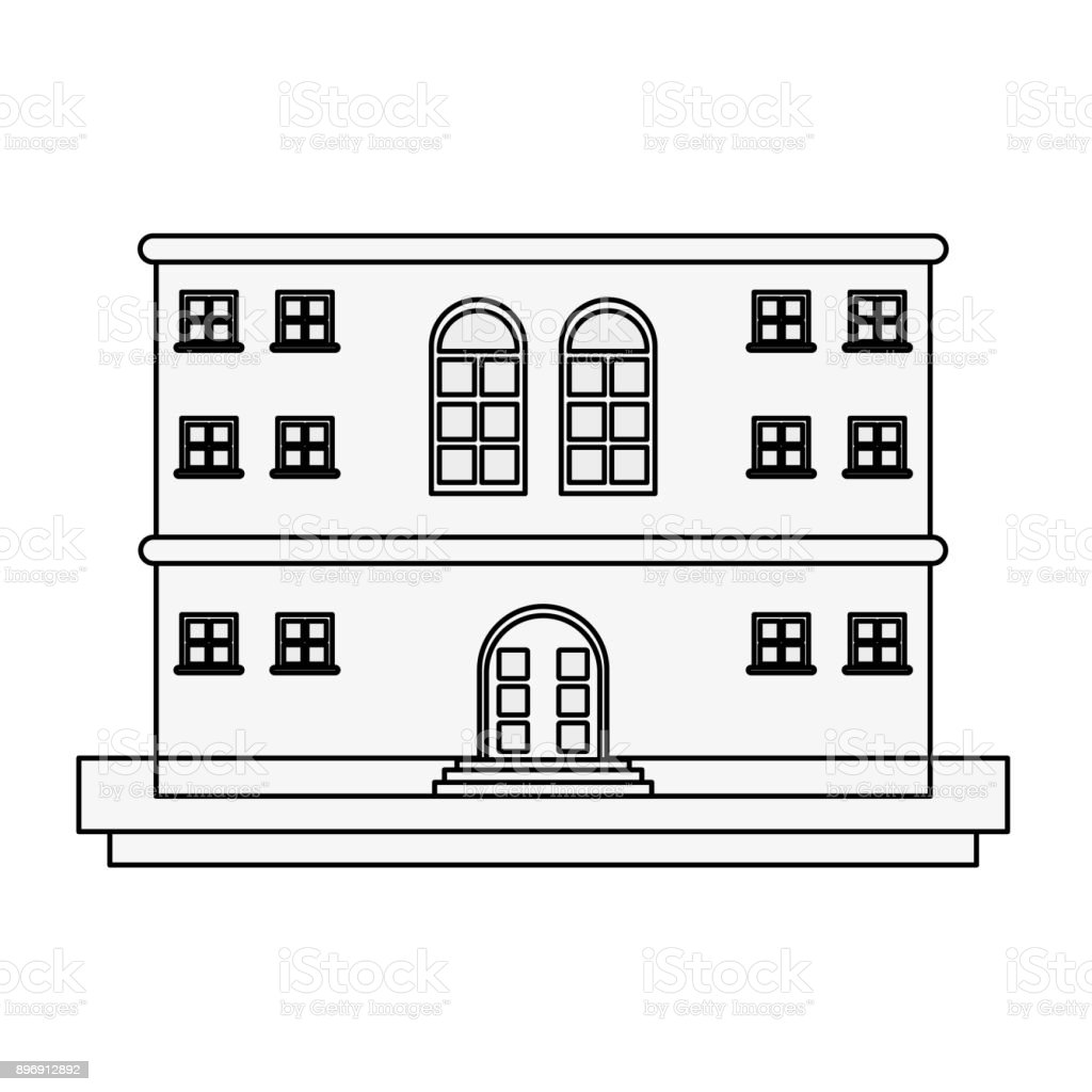 old apartments tower building vector art illustration