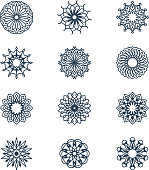 Old arabic mandala lace patterns set. Arabesque ornaments