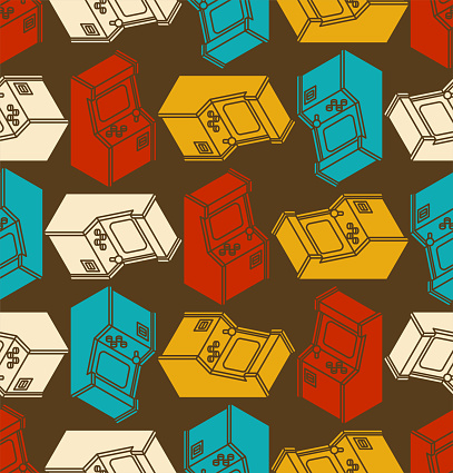 Old Arcade Machine Gaming pattern seamless. Retro Video Game play background