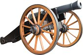 Old artillery cannon model in brown and black