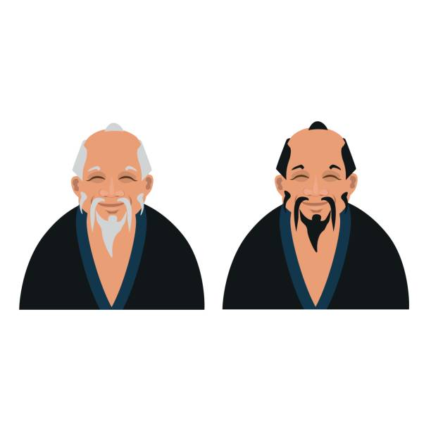 old asian men - old man hair stock illustrations, clip art, cartoons, & icons