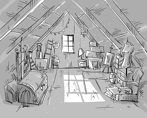 alte dachgeschoss, vektor-illustration - dachboden stock-grafiken, -clipart, -cartoons und -symbole