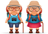 Old Backpacker Couple Photo Camera 3d Travel Realistic Cartoon Character
