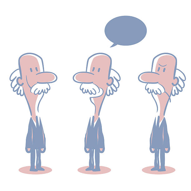 old bald businessman doodle emotion, talking, smiling, angry - old man standing drawings stock illustrations, clip art, cartoons, & icons