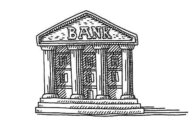 Old Bank Building Symbol Drawing Hand-drawn vector drawing of a Symbol of an Old Bank Building. Black-and-White sketch on a transparent background (.eps-file). Included files are EPS (v10) and Hi-Res JPG. banking drawings stock illustrations