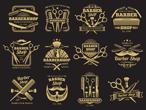Old barbershop vector emblems and labels
