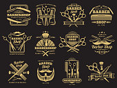 Old barbershop vector emblems and labels