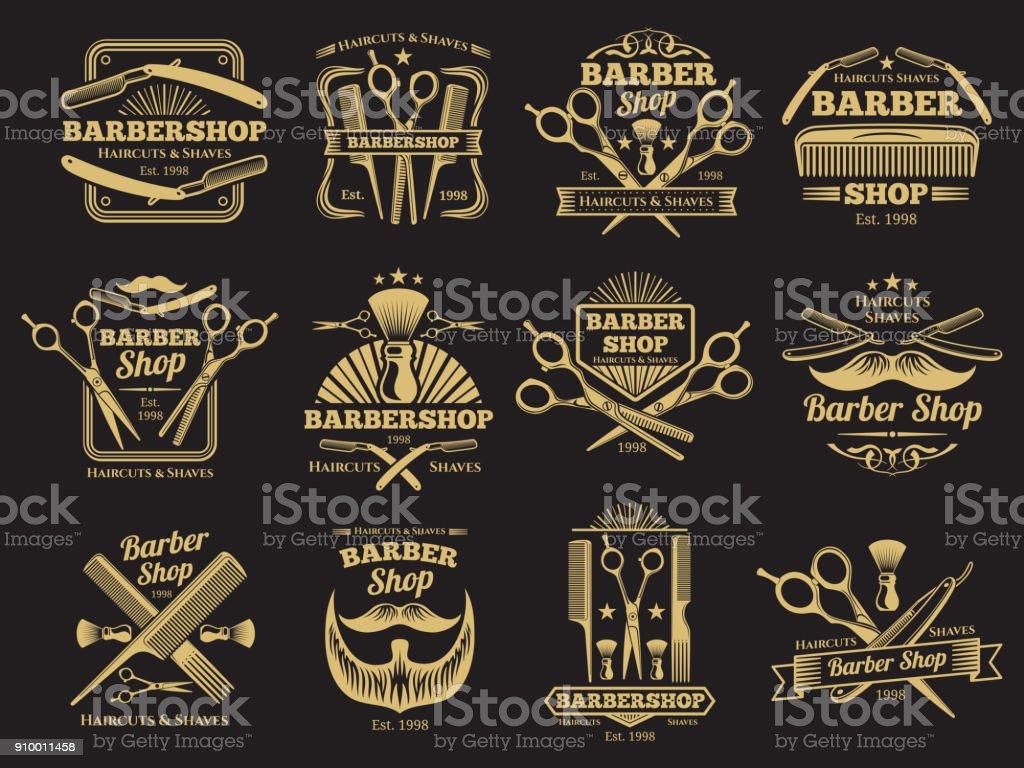 Etiquetas e emblemas de barbearia vector velho - ilustração de arte em vetor