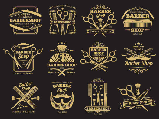 Old barbershop vector emblems and labels vector art illustration