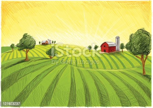 istock old barn and field 121923237