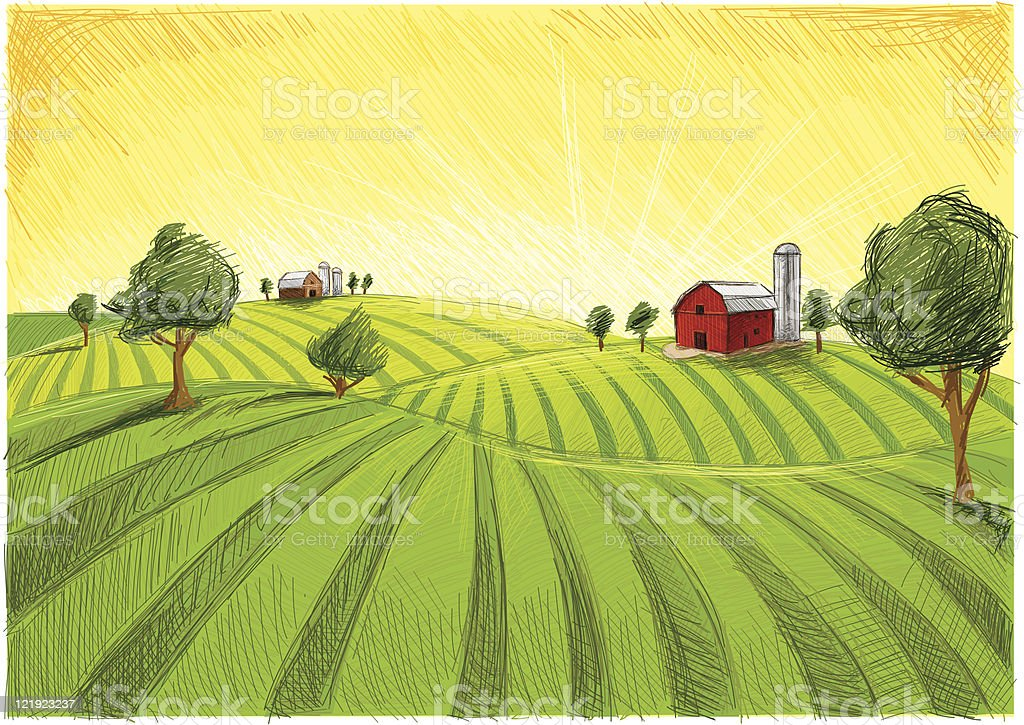 old barn and field vector art illustration
