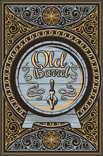 Old barrel  - ornate vintage decorative label