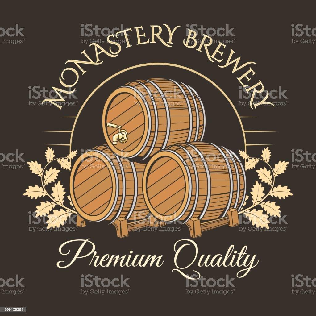 Old barrels logo vector art illustration