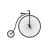 istock Old bicycle icon isolated on white background, Retro Penny farthing bike. High wheel vintage bicycle, Vector illustartion 1273467012