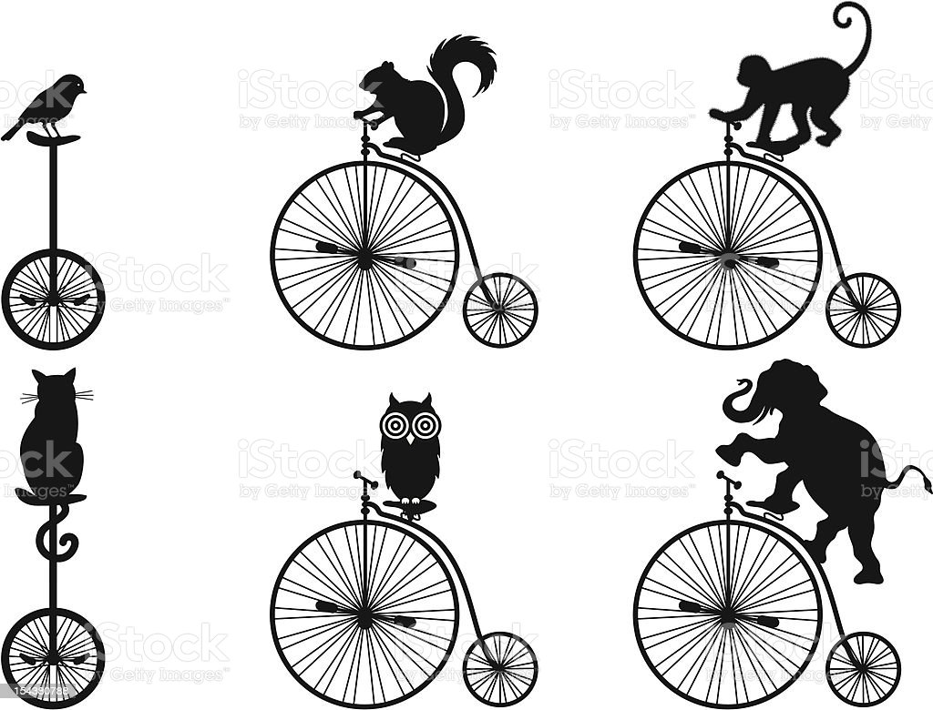 Old Bicycle With Animals, Vector vector art illustration