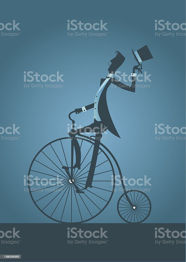 Old bicycle with Victorian Man silhouette vector art illustration