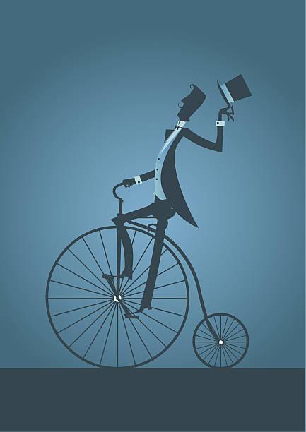Velho homem de bicicleta com estilo vitoriano de silhueta - ilustração de arte em vetor