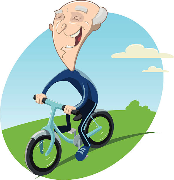 old biker - old man on bike stock illustrations, clip art, cartoons, & icons